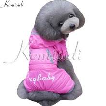 KEMISIDI Letter Print Dogs Raincoat Polyester All Season Pets Clothes Rose Red Blue Colors Four Legs Raincoat For Small Dogs Cat(China)