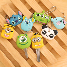 suti 8PCS/Lot Cute Anime Cartoon Silicone Stitch Minion Key Cover For Women Key Caps Keychain Key Chain Key Ring Key Holder Gift(China)