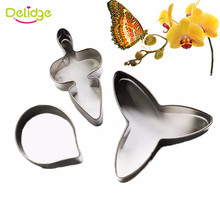 Delidge 3pcs/set Stainless Steel Butterfly Orchid Petal Cookie Cutter Biscuit Fondant Cake Decorating Tools Dessert Baking Mould