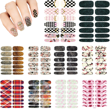 10pcs Vintage Water Transfer Nails Stickers 3D Design Serpentine Nails Art Decal Metal Gold Manicure Stickers Decals Wraps Cheap