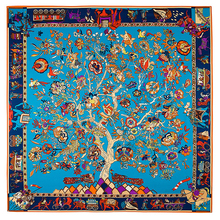 [LESIDA] Ladies 100% Silk Twill Square Scarf Tree Flower Elephant Pattern Print Shawl Folk-Custom Foulard Sjaal 130*130CM 1303