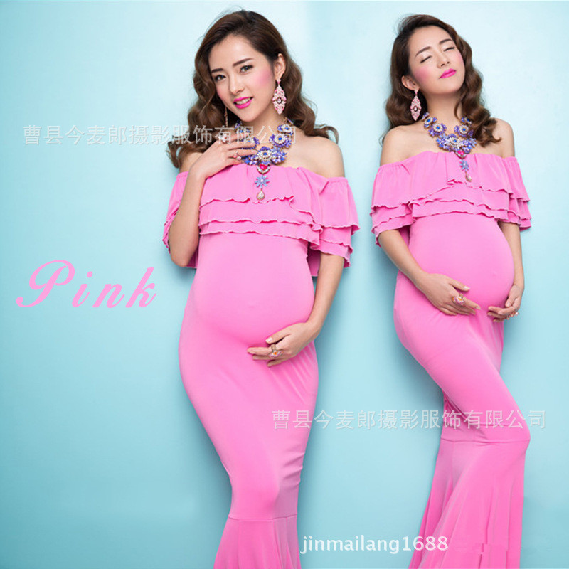 Fashion Maternity Photography Props Fancy Maternity Dresses Pregnant Clothes Silk Dress Photography Maternity Dress<br>