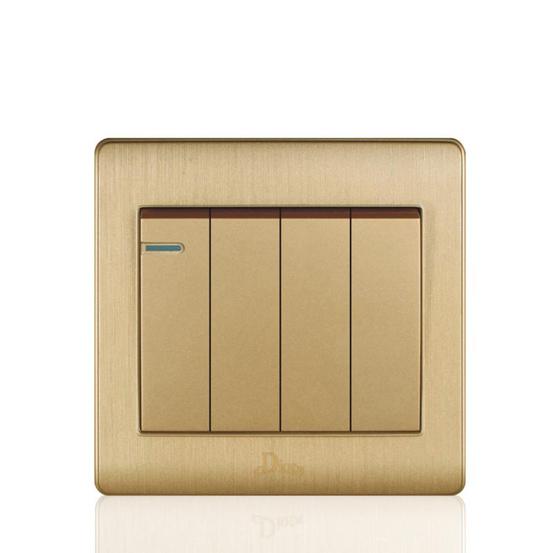 Darling switch 4 gang 2 way wall switch and gold 10A wall light switch with 86*86 mm electric switch<br><br>Aliexpress