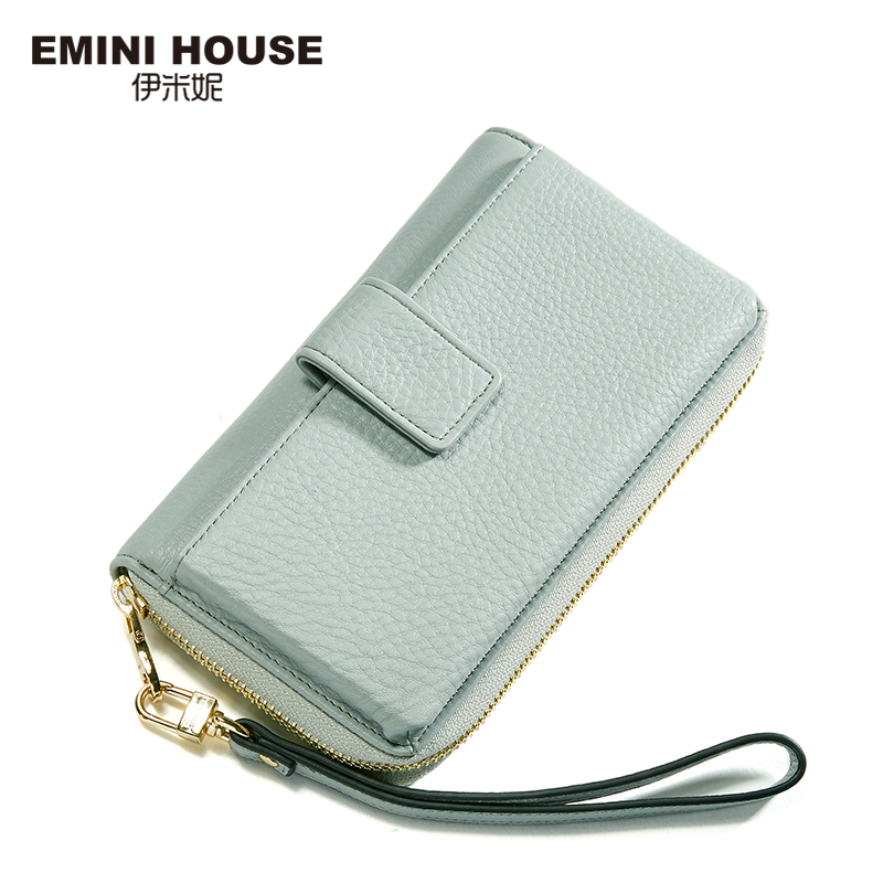 EMINI HOUSE Genuine Leather Long Wallet Women Phone Wallets Zipper &amp; Hasp Coin Purse Multifunction Clutch Wallets Card Holder<br>