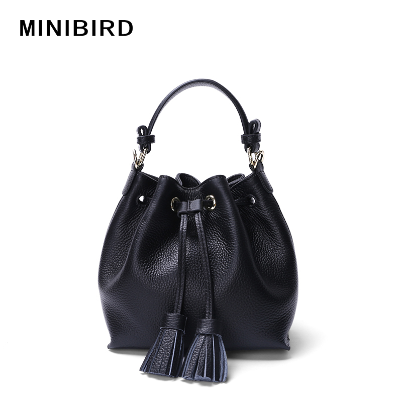 High Quality Girls Fashion Sexy Mini Tassel Handbag Lady Cowskin Genuine Leather Crossbody Bag Women Bucket Totes Miss Strap Bag<br><br>Aliexpress