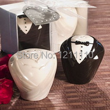 Small Wholesales+Best Selling Exquisite Ceramic Bride&Groom Salt and Pepper Shakers Kitchen Favors+5sets/Lot+FREE SHIPPING