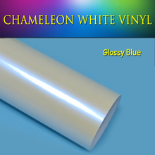 2015 new arrial pearl white  chameleon vinyl film 1.52*20m glossy finish Blue with air drain 4 colors option chameleon