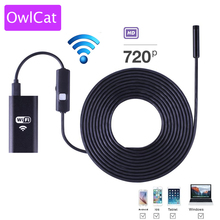 OwlCat 8mm Lens Wifi Android Iphone Wireless Endoscope Camera 2M Waterproof Snake Tube Pipe Borescope HD1080P Iphone Mini Camera(China)