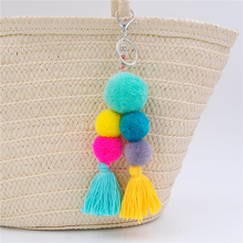 1pc Woolen Yarn Big Ball Pom Pom Bag Charms Bohemia Tassel Keychains For Women Boho Jewelry Party