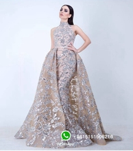 Real Photos Arabic A Line Floor Length Halter Custom Made Evening Dresses Party Dress Vestido De Festa 2017 from Yousef Aljasmi(China)