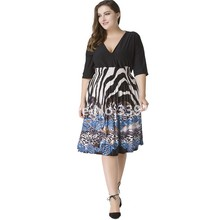 Plus Size 5XL 2017 Summer Dress Casual women Loose Zebra stripes Printed Sexy Dresses 7XL 6XL Women Clothing 6xl Fat MM Dress