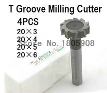 Free Shipping 4pcs/set 20mm Straight shank T cutter superhard T T slot cutter cnc milling machine tool 20mm*,3mm, 4mm ,5mm,6mm