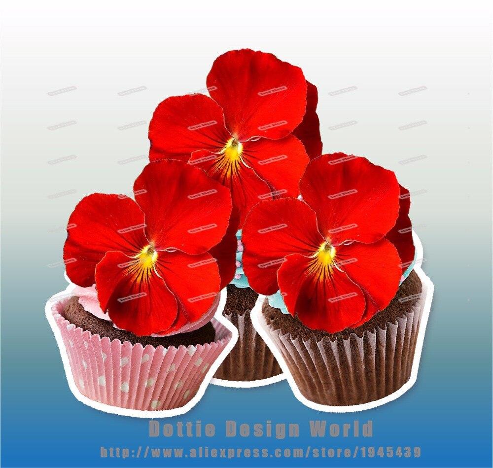 24 black pansies flower edible cake topper wafer rice paper pancy 24 red pansies flower edible cake topper wafer rice paper pancy cupcake topper birthday wedding cake mightylinksfo