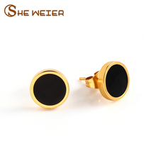 SHE WEIER Titanium Stainless Steel Earrings For Women Circle Stud Earings Fashion Jewelry Accessories Female Gift Girl Simple(China)