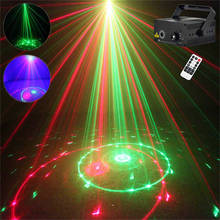 AUCD Mini Remote 20 Patterns Red Green Laser Effect Projector 3W Blue LED Light Home DJ Holiday Wedding Stage Lighting L20(China)