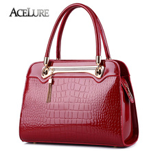 ACELURE Fashion 2017 Patent Women Shoulder Bag Luxury Crocodile Pattern Purse Handbags High Quality Female Leather Messenger Bag(China)