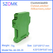 electrical distribution box plc din rail plastic enclousre (1 pc) 110*100*17mm szomk electronic green instruement enclosure(China)