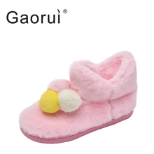 New Lovely Ladies Crystal Plush Home Slippper Warm Boots Floor Boots Women Cotton Pompon Shoes Xmas gift(China)