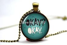10pcs The Fault in Our Stars, by John Green: 'Okay? Okay' Quote Book Pendant Necklace Jewellery, Augustus Waters TFiOS(China)
