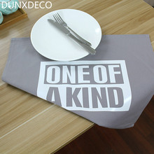 DUNXDECO Table Placemat Plate Mat Cotton Tablecloth Modern Words Print Desk Accessories Home Decoration