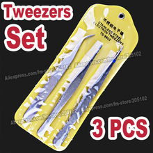 3PCS Tweezers Set , Curve&Straight Stainless Steel SHARP Tweezers,pick-up tools for DIY crystals. pincers nipper nail art beauty