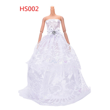 1PCS New Arrival Handmade White Party Wedding Dress For Barbie Princess Floor Length Doll Dress Clothing(China)