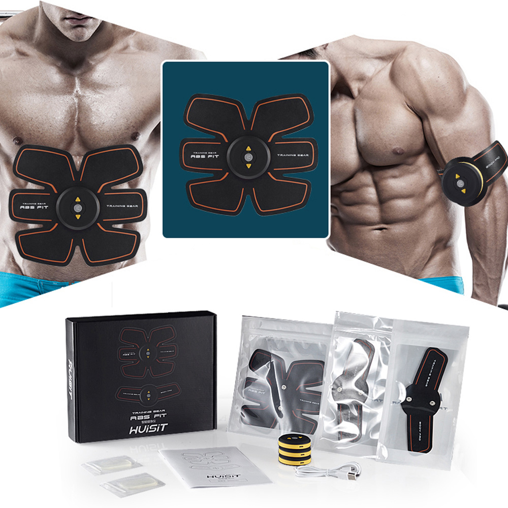 Muscle Training Stimulator Rechargeable Device Slimming Massage Abdominal EMS Belt Gym Professional Unisex Fitness Ab Toner Gear<br>