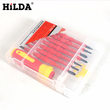 HILDA New 8pcs/set Electric Tools Insulated Electrical Single Head Hand Screwdriver Tools Magnetic Herramientas Electricas(China)