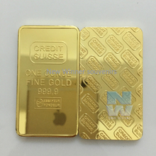 Hot! Laser serial number CREDIT SUISSE 1oz 24ct Pure Gold Plated Layered Bullion Bar Ingot Replica coin 3pcs/lot Free shipping(China)