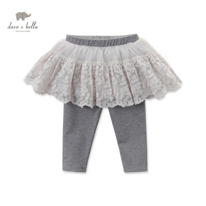 DB3685 dave bella autumn baby girls pants with skirt girls kids trouser with lace<br>