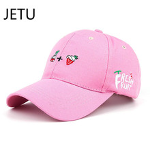 2017 New Arrival Spring Leisure Fresh Fruit Embroidery Hat Strawberry Banana Cherry Orange Peach Baseball Cap For Women
