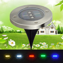3 LED Solar Panel Underground LED Lamps for Graden Decoration Solar Power LED Light Outdoor Grass Underground Lamp Round(China)
