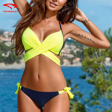 Buy New Sexy Bikinis Women Push Swimwear Criss Cross Bandage Swimsuits Halter Bikini Set Brazilian Bathing Suit Swimsuit Women