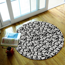 Nylon Fabric Black and White Letters Geometry Pattern Round Rug Living Room Bedroom Rug Computer Chair Rug Kids Play Area Rug(China)