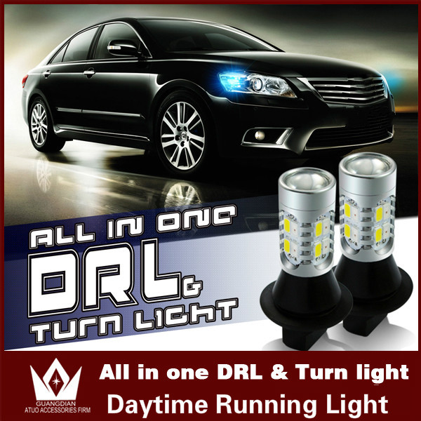 Guang Dian Car led light Daytime Running Lights Turn Signals For Toyota Prius Highlander Prado Camry Corolla REIZ T20 WY21W 7440<br><br>Aliexpress