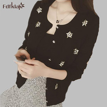 Women Sweaters 2017 Spring Autumn O-Neck Fashion Print Women Cardigan Women's Long Sleeve White/Black Knit Cardigan E0493