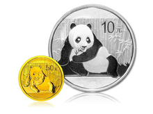 2015ys People's Bank of China Panda 1/10 oz gold and 1 oz silver plated commemorative coins set issued with COA