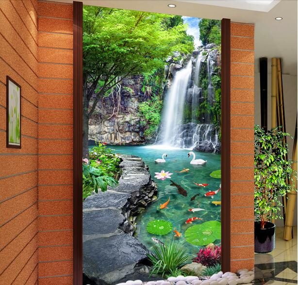 Custom photo 3d wallpaper Non-woven mural picture wall sticker 3 d Lotus pond and waterfall porch painting Living room wallpaper<br><br>Aliexpress