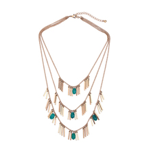 Multilayer Gold Alloy Tassel Green Beads Necklace 2017 New Statement Necklace Women Fashion Jewelry(China)