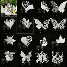 50pcs Laser Cut Butterfly Angel Heart Bird Wine Glass Card Table Name Place Escort Cup Card Party Wedding Birthday Decorations(China)