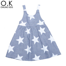 Girls Star Dress 2017 New Fashion Brand Baby Kids Clothes Stripe Suspender Children Princess Dresses Summer Style Girl Clothing