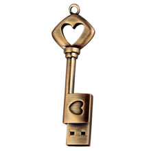 HOT-USB 2.0 Metal USB Pen Drive Pure Copper Heart USB Flash Drive Key (Copper, 8GB)