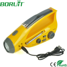New Portable Solar Radio Hand Crank Self Powered Phone Charger Flashlight AM/FM Radio Waterproof Emergency Survival Torch