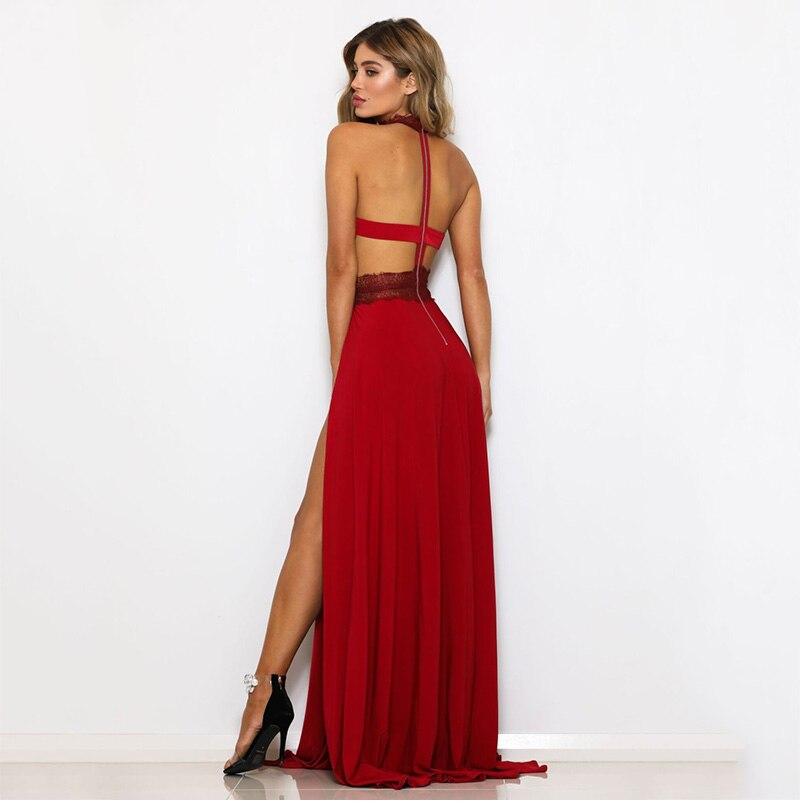 GACVGA Sexy Women Sleeveless Summer Dress Halter Neck Lace Crochet Evening Maxi Long Dress Backless Party Dresses Vestido 10