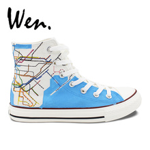 Wen Canvas Sneakers Design Custom New York City Map Subway Route High Top Hand Painted Skateboarding Shoes Gifts for Women Men(China)
