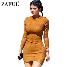 ZAFUL Long Sleeve Slim Party Dress Sexy Club Brown Vestido Women Winter Dresses Kylie Skin Tight Faux Suede Bodycon Dress(China)