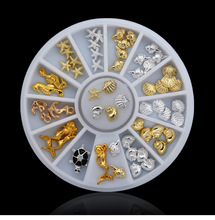 Marine Animals Nail Art Rivet Decals Gold&Silver Studs Rhinestones 3D Nail Art Decorations Stickers Square Nails Accesories