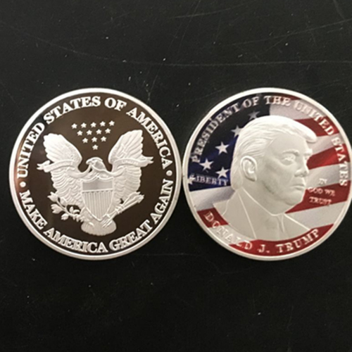 New Arival Donald Trump Metal Coin Quality Silver Plated US President Commemorative Gift Coins American Silver Coin Collection(China)