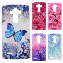 Phone Cases sFor LG Optimus G3 D850 D855 D857 D859 Flowers Rose Plants Butterfly Pattern Clear Soft TPU Back Cover for LG G 3