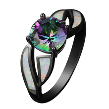 Black Gun Plated Rainbow Cubic Zirconia Fire Opal Rings for women Hot Sale Fashion Jewelry Unique Party Cocktail Ring R177